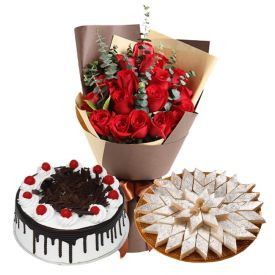 10 Red Roses, 1/2 Kg Black forest cake and 1/2 Kg Kaju Katli