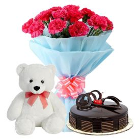 A bunch of 20 Red carnation 1 kg chocolate cake and (6-inch-white teddy bear)