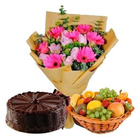 12 Mixed Flowers,2 Kg Mixed Fruits and 1/2 Kg Chocolate Cake