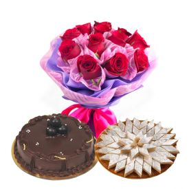 18 Red Roses, 1 Kg chocolate cake and 1/2 Kg Kaju Katli
