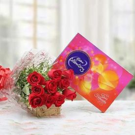 Red Roses With Celebration pack