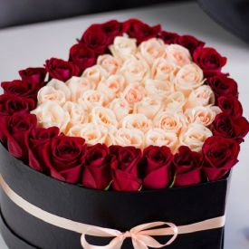 Red & Pink Roses with Heart Box