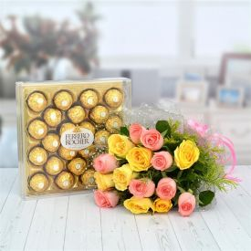 10 mixed roses and 24 ps Ferrero Rocher