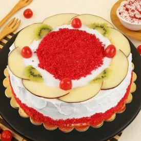 Red Velvet Fruit Top Cake