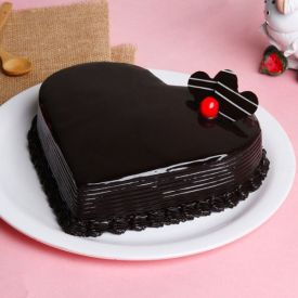 Valentines Day Heart Shaped Chocolate Truffle Cake