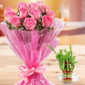 Pink roses with Bamboo plant