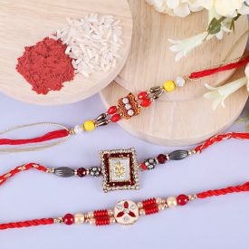 3 Beautiful Stone Studded Rakhis