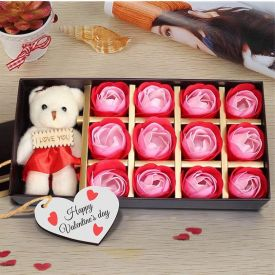 Roses Teddy with Valentine Key Chain