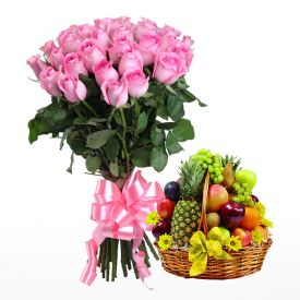 Pink Roses with Fruits