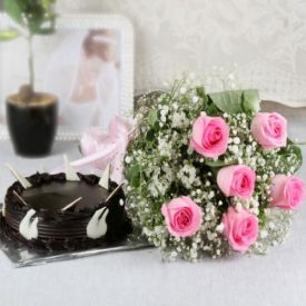 6 Pink Roses with Chocolate Cake