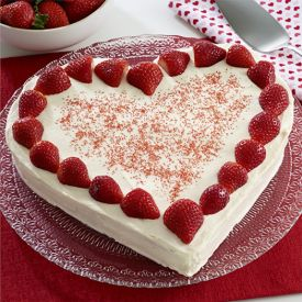 Strawberry Heart Shaped Cake