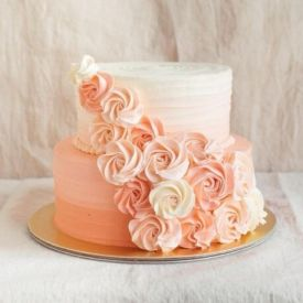 Flower Design 2 Tier Cake