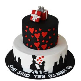 Engagement Fondant Cake 2 Tier