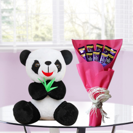 Panda with Chocolate Bouquet
