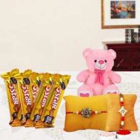 Soft toy with Rakhi