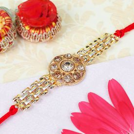 Gold Look Diamond Rakhi