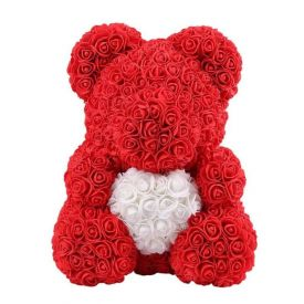 Red & White Flower Teddy Bear