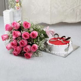20 Peach Roses in Cellophane Roses and 1 Kg Heart-shaped Strawberry cake