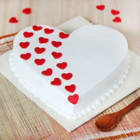 Decorative White Heart Cake