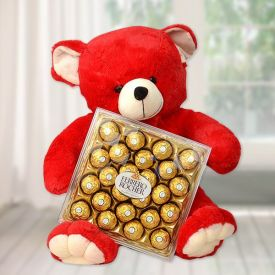 Red Teddy with Chocolates