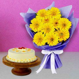 Yellow Gerbera with Butterscotch Cake