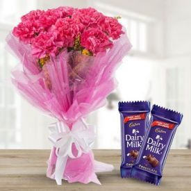 Pink Carnations with Dairy Milk