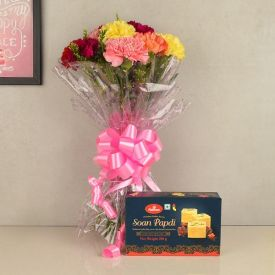 Carnations with Soan Papdi