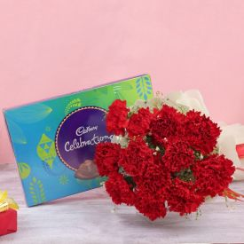 Red Carnation With Celebration Pack