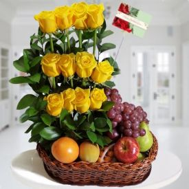 Yellow Roses With Mixed Fruits