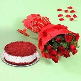 Red Roses With Red Velvet