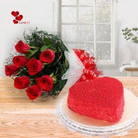 Heart Shape Red Velvet & Roses Bunch