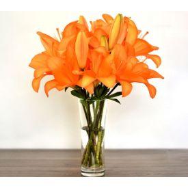 Bunch of 10 orange lilies in Vase