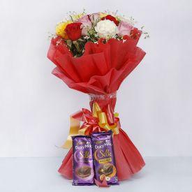 Beautiful mixed Roses bunch N silk
