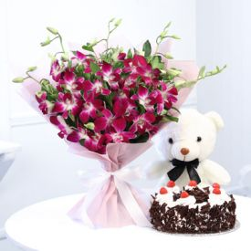 Orchids, Chocolate cake with Teddy