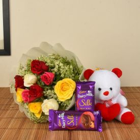 Roses Bunch with teddy & choco