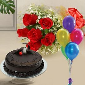 Roses, cake With balloons