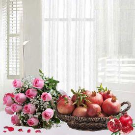 Pomegranates with Roses Basket