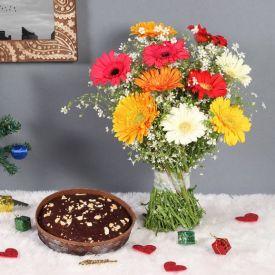 Gerberas with Christmas Plum cake
