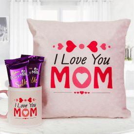 Cushion with Mugs and Chocolates Hamper
