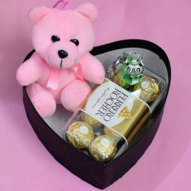 Ferrero Rocher N Teddy Beer With Heart Box