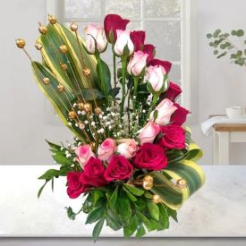 Red With Pinky Roses arrangement