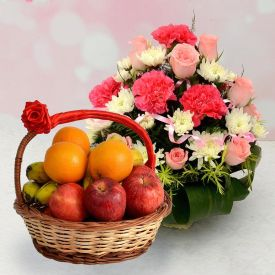Mixed Fruits with Flowers Gift Hampers