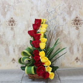 Basket of 20 Roses (Red and Yellow)