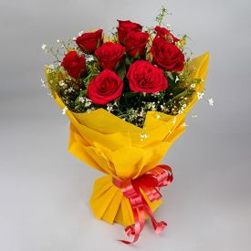 Joyful Red Roses Bunch