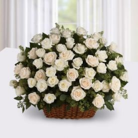 White Roses With basket