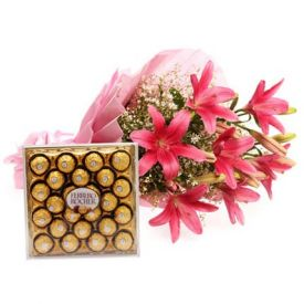 Pink lilies with ferrero rocher