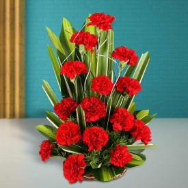 Red Carnation With Basket
