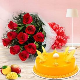 Mango cake With Roses