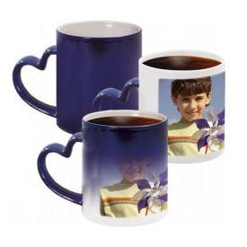 Blue Heart Handle Magic Mug
