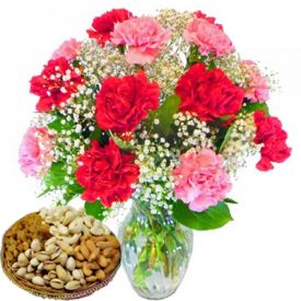 Bunch of Fresh Carnation with Dry Fruits